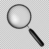 Realistic magnifying glass isolated on transparent background, v. Ector illustration Stock Images