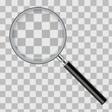 Realistic magnifying glass isolated on transparent checkered background. Vector illustration. royalty free illustration