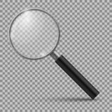 Realistic magnifying glass. Magnification zoom loupe, scrutiny microscope magnify lens. Detective tool isolated mockup. Realistic magnifying glass. Magnification vector illustration