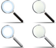 Realistic Magnifying Glass set Stock Photography