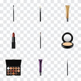 Realistic Make-Up Product, Collagen Tube, Pomade And Other Vector Elements. Set Of Greasepaint Realistic Symbols Also Royalty Free Stock Photo