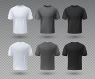 Realistic male t-shirt. White and black mockup, front and back view 3D isolated design template. Vector sport wear and