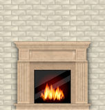 Realistic Marble Fireplace with Fire in Interior, Brick Wall. Illustration Realistic Marble Fireplace with Fire in Interior, Brick Wall - Vector Royalty Free Stock Photography