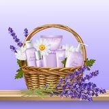 Realistic 8 March Background. 8 march holiday present with basket full of flowers face and body care products realistic background vector illustration Royalty Free Stock Images