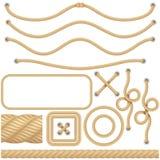 Realistic marine or nautical fiber ropes. Borders, frames sailing decoration elements. Knot twisted isolated object. EPS royalty free illustration