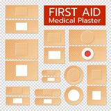 Realistic Medical Plasters Set. Set of realistic medical plasters of beige color with antiseptic treatment  on transparent background vector illustration Stock Image