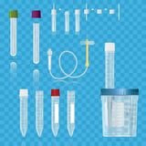 Realistic medical supplies. For blood collection set, for short. Term, laboratory test-tubes, tube and syringes. Vector illustration on transparent background Royalty Free Stock Photos