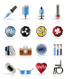 Realistic  medical themed icons and warning Royalty Free Stock Images