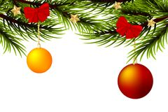 Realistic Merry Christmas ball branch pine tree Stock Photography