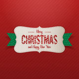 Realistic Merry Christmas Label with green Ribbon Stock Photography