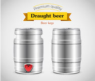 Realistic metal beer keg, vector illustration. Royalty Free Stock Images