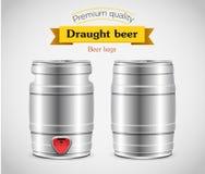 Realistic metal beer keg, vector illustration. Royalty Free Stock Images