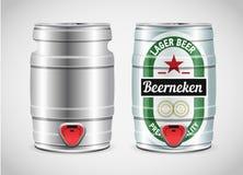Realistic metal beer keg, vector illustration. Royalty Free Stock Image