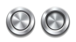 Realistic metal button Stock Images