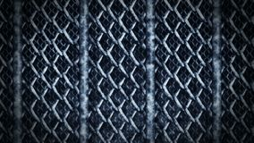 Metallic wire fence on a dark background. Chain of wire mesh steel metal. CG loop animation. Realistic metal chain link fence. Prison barrier gate. Wire mesh stock footage