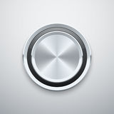 Realistic metal chrome silver steel round vector knob button Royalty Free Stock Photo