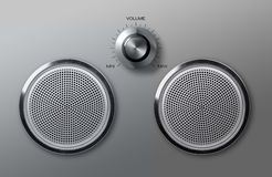 Realistic metal loudspeakers with volume knob Stock Image