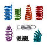 Realistic Metal Springs Colored. Decorative icons set isolated vector illustration Royalty Free Stock Photo