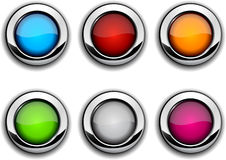 Realistic metallic buttons. Stock Images