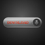 Realistic metallic download button. Royalty Free Stock Image