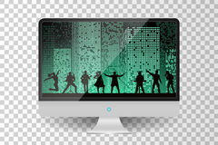 Realistic metallic modern TV monitor isolated. Band show on night city background. Vector illustration Royalty Free Stock Photography