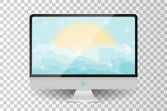 Realistic metallic modern TV monitor isolated. Cartoon blue shining cloudy sky with sun. Vector illustration Royalty Free Stock Photos