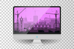 Realistic metallic modern TV monitor isolated. City under construction background Stock Image
