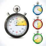 Realistic metallic stopwatch. Countdown speed sport chronometer set isolated vector illustration Royalty Free Stock Photo