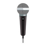 Realistic Microphone for Karaoke with flat color style design. Microphone for Karaoke. Realistic microphone with flat color style design Royalty Free Stock Photos