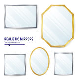 Realistic Mirrors Set Vector. Decoration Mirror With Reflection. Interior Decoration. Metalic Frames Stock Images