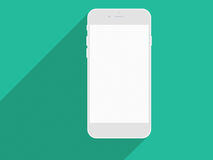 Realistic mobile phone with blank screen and long shadows. Royalty Free Stock Images