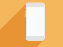 Realistic mobile phone with blank screen and long shadows. Royalty Free Stock Image