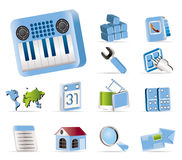 Realistic Mobile Phone and Computer icon Stock Photos