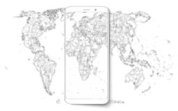Smart phone. Realistic mobile phone smart phone with blank screen isolated on background. Vector illustration for printing and web Stock Photos