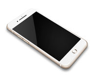 Realistic mobile phone  on white background. Realistic mobile phone touch screen smartphone with black screen with shadows  on white background Stock Photo