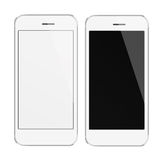 Realistic mobile phones with blank and black screen. Stock Photo