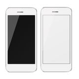 Realistic mobile phones with blank and black screen. Royalty Free Stock Image