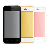 Realistic mobile phones with blank screen Royalty Free Stock Images