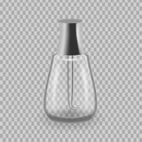 Realistic mock-up, template of flacon, glass bottle with lacquery. Realistic mock-up, template of flacon, glass bottle with lacquery, application to hands Stock Photo