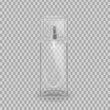 Realistic mock-up, template of flacon spray for freshness, lotion. Cosmetic spray, mockup design. Care of female beauty. Cosmetic ads template. Realistic mock Stock Image