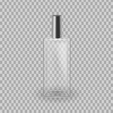 Realistic mock-up, template of flacon spray for freshness, lotion. Cosmetic spray, mockup design. Care of female beauty. Cosmetic ads template. Realistic mock Stock Photos