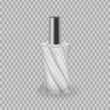Realistic mock-up, template of flacon spray for freshness, lotion. Cosmetic spray, mockup design. Care of female beauty. Cosmetic ads template. Realistic mock Stock Images
