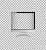 Realistic mockup computer monitor with digital screen.Template desktop pc with silver frame.vector royalty free illustration
