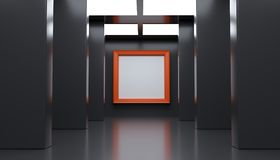 Realistic Modern Gallery Room With Big Empty Frame. 3D rendering Of Realistic Modern Gallery Room With Big Empty Frame Royalty Free Stock Images