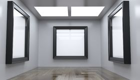 Realistic Modern Gallery Room With Big Empty Frame. 3D rendering Of Realistic Modern Gallery Room With Big Empty Frame Royalty Free Stock Photography