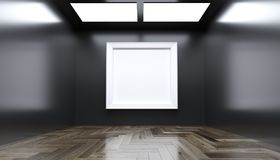 Realistic Modern Gallery Room With Big Empty Frame. 3D rendering Of Realistic Modern Gallery Room With Big Empty Frame Royalty Free Stock Image