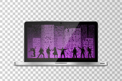 Realistic modern laptop isolated. Band show on night city background. Vector illustration Stock Image