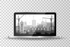 Realistic modern laptop isolated. City under construction background Royalty Free Stock Photography