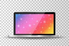 Realistic modern laptop isolated. Glamour rainbow shining rounds background Stock Photo