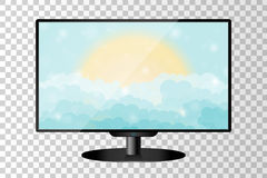 Realistic modern TV monitor isolated. Cartoon blue shining cloudy sky with sun. Vector illustration Royalty Free Stock Photo
